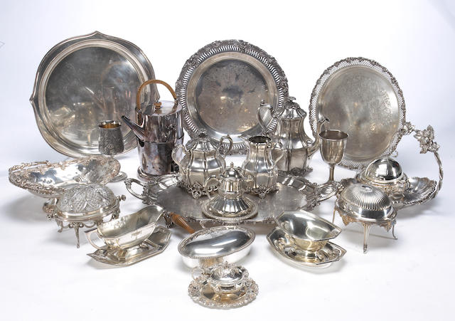 Quantity of plated table articles and flatware