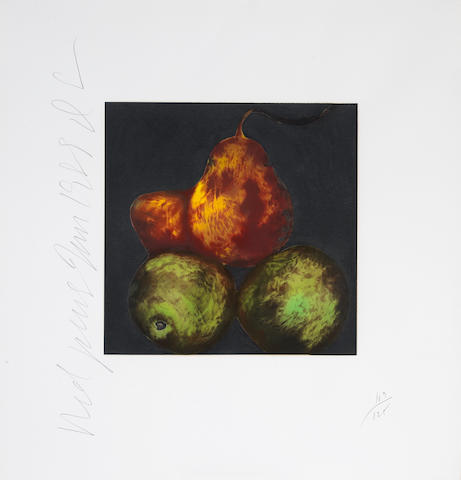 Donald Sultan, Red Pears and Fish (2); (2)