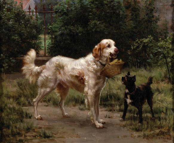 (n/a) Elizabeth Strong (American, 1855-1941) English setter and terrier, 1885 21 x 25 1/2