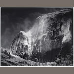 Ansel Adams (American, 1902-1984); Half Dome Blowing Snow, Yosemite National Park;