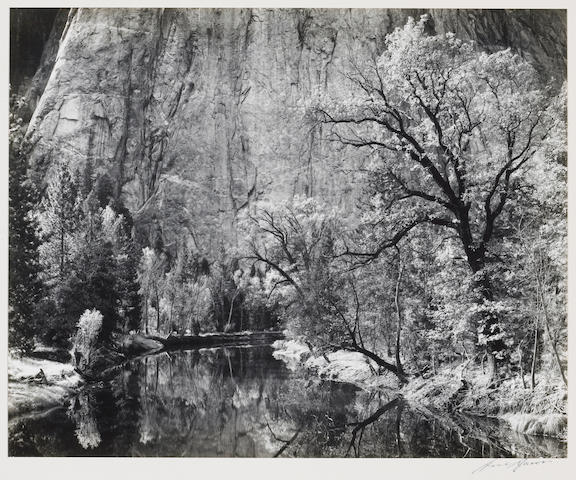Ansel Adams (American, 1902-1984); Merced River, Cliffs of Cathedral Rocks, Autumn;