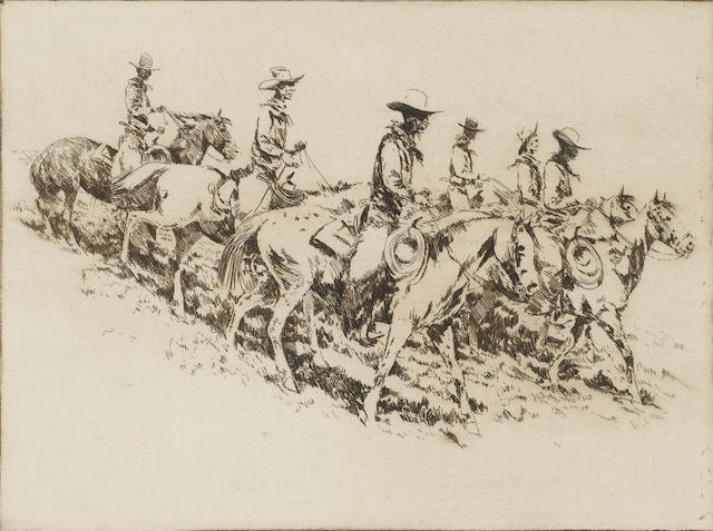 Edward Borein (American, 1872-1945); Cowboys;