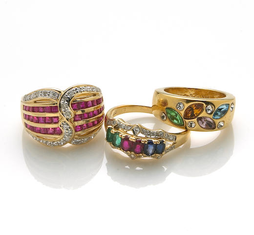 Two ruby, sapphire, emerald, diamond, 14k and 18k gold rings