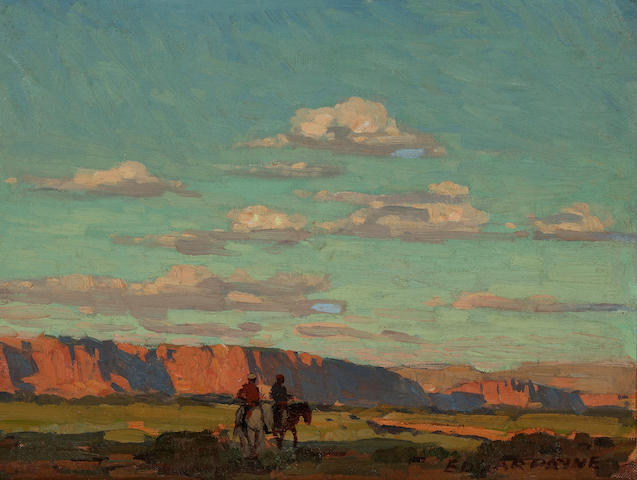 Edgar Payne (1883-1947) Riders under scattered clouds 11 3/4 x 15 1/2in