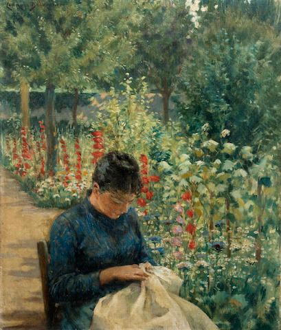 (n/a) James Carroll Beckwith (American, 1852-1917) The Garden of Giverny, France 20 1/4 x 14in