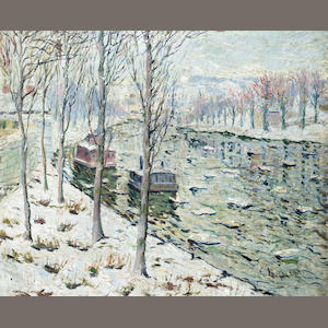 Ernest Lawson (American, 1873-1939) Canal Scene in Winter 20 x 24in