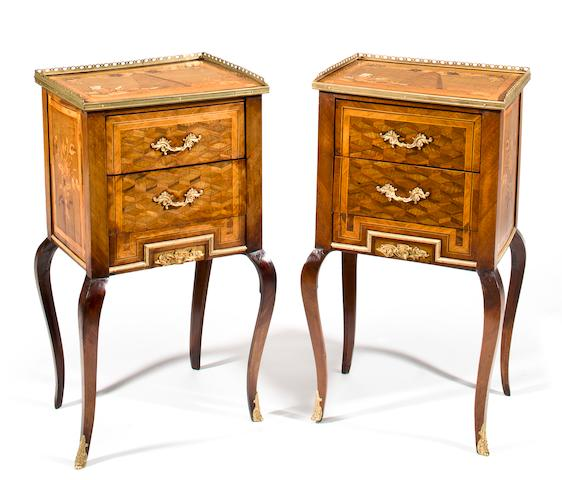A pair of Louis XV/XVI Transitional style tulipwood marquetry gueridons<br>Second half 19th century