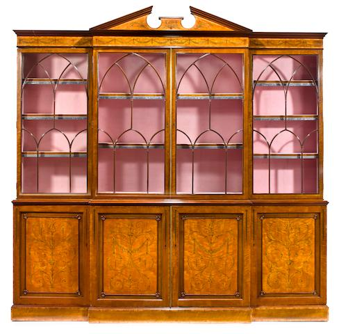 A George III style inlaid satinwood breakfront<br>late 19th century