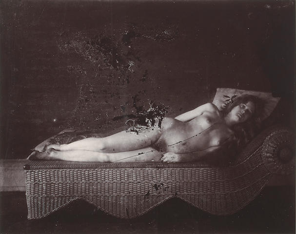 Ernest J. Bellocq (American, 1873-1949); Nude on Chaise, New Orleans;