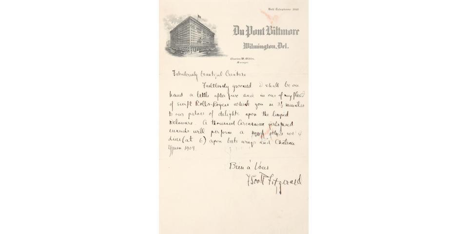 FITZGERALD, FRANCIS SCOTT KEY. 1896-1940.