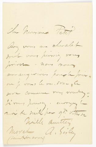 Sisley, Alfred.  ALS, 1 p, n.d