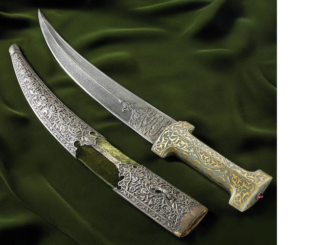 A gold-inlaid nephrite hilted Ottoman jambiya
