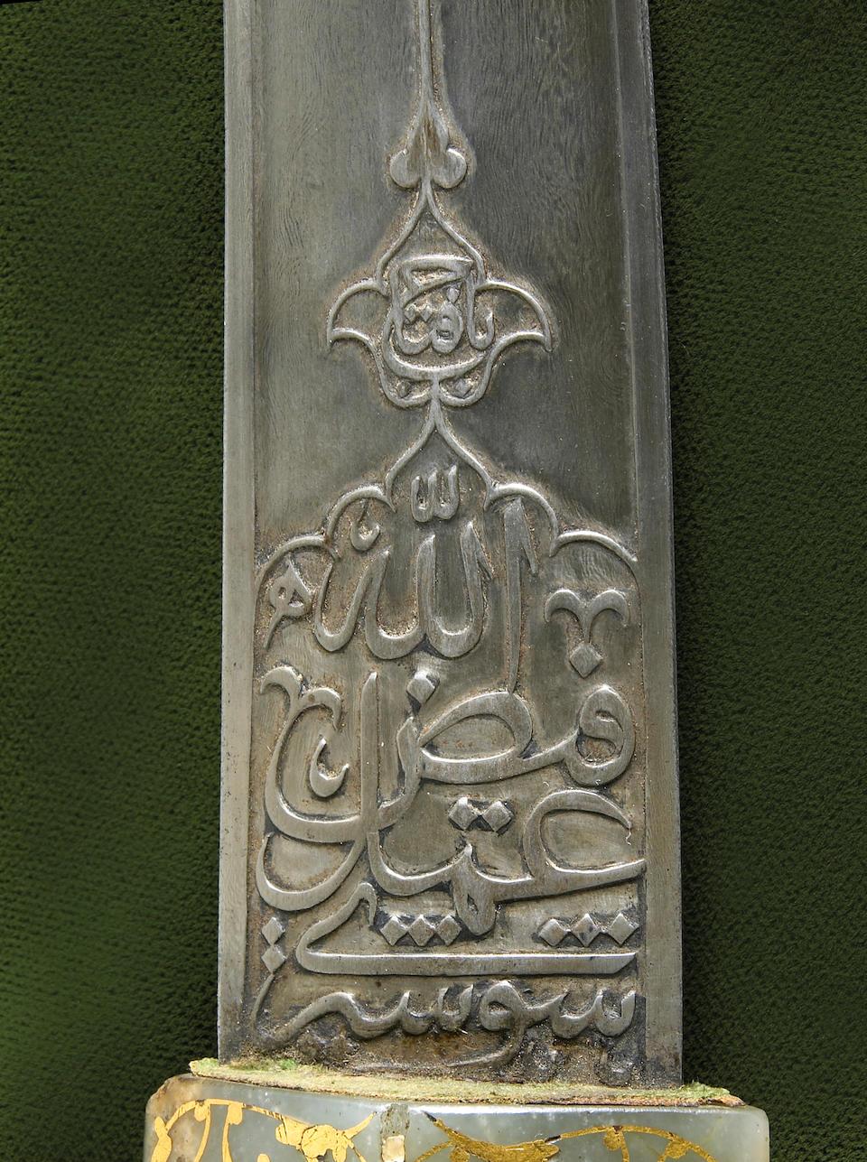 A fine gold-inlaid nephrite hilted Ottoman jambiya