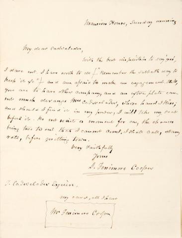Cooper, James Fenimore.  1 p, n.d
