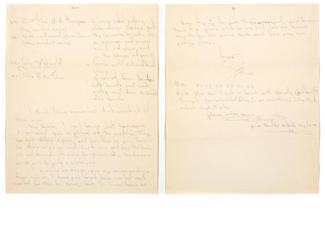 An eight-page handwritten letter from Marilyn Monroe to Grace Goddard