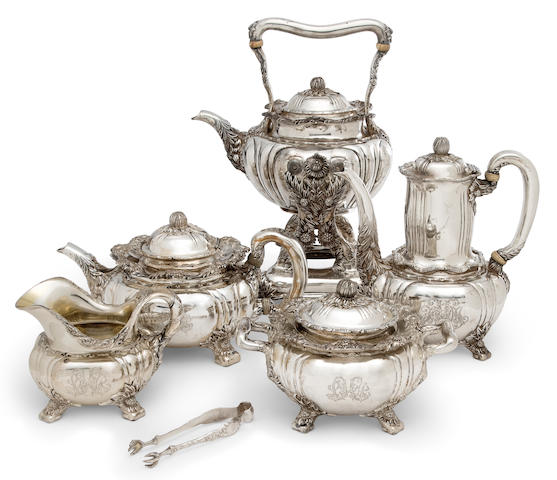 An American sterling silver five piece tea and coffee service Manufactured and retailed by Tiffany & Co., New York, 1902-07