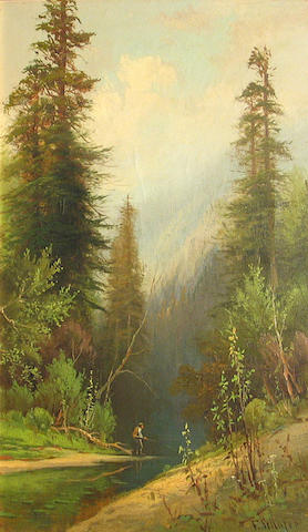 Frederick Schafer, Man fishing in a mountain stream, o/c