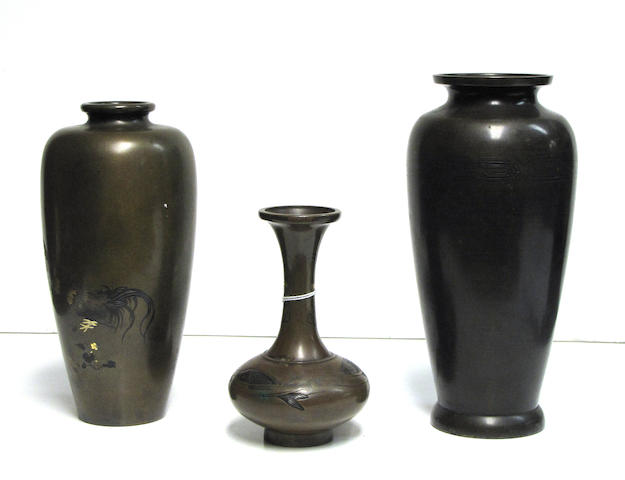 Two patinated bronze vases with mixed metal accents Meiji Period