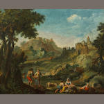 Follower of Giuseppe Zais (Italian, 1709-1784) A pastoral scene with a chateau in the distance 20 1/2 x 25in (52 x 63.5cm)