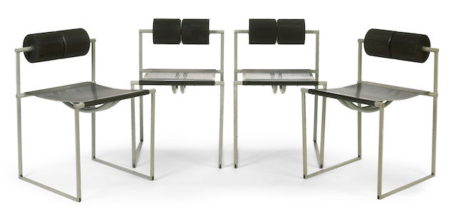 A set of four Mario Botta enameled steel Prima 601 chairs for Alias, circa 1982