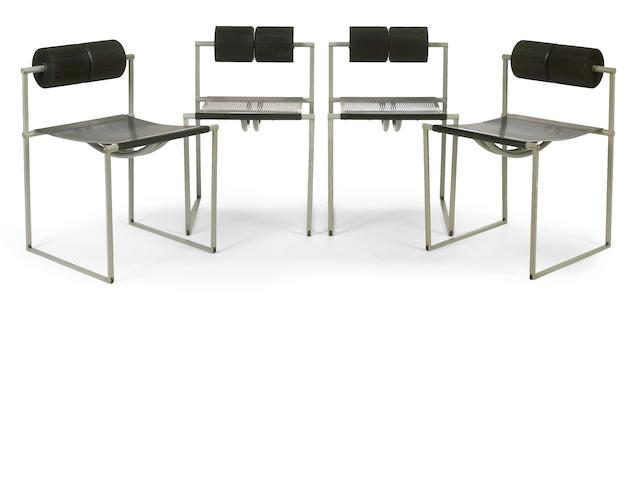 """A set of four Mario Botta enameled steel """"Prima 601"""" chairs   for Alias, circa 1982"""