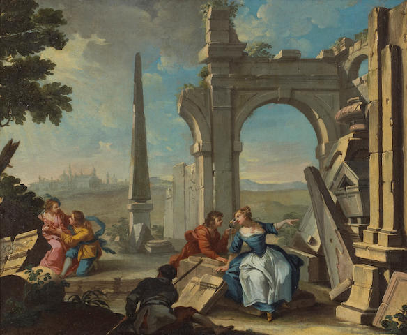 French School, 18th Century Figures amongst classical ruins 17 3/4 x 21 1/2in (45.1 x 54.6cm)
