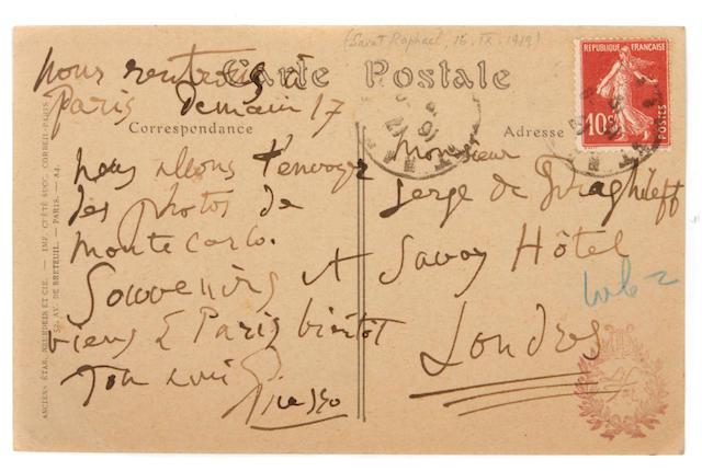 Picasso, Pablo.  Autograph Postcard Signed, 1919.