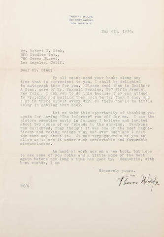Wolfe, Thomas.  LS, 1 p, 1936.