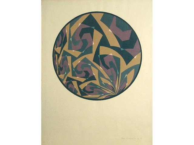 Hans Hinterreiter (Swiss, 1902-1989) Opus 58, 1959 19 1/2 x 15in