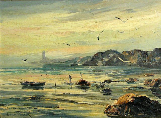Joshua Meador, Figures on the rocks, o/c, 12 x 16in