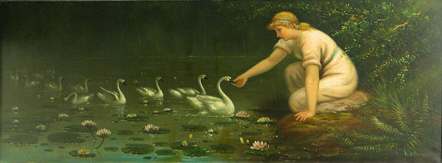 (n/a) Astley David Middleton Cooper (American, 1856-1924) Feeding the swans, 1888 17 1/2 x 45in