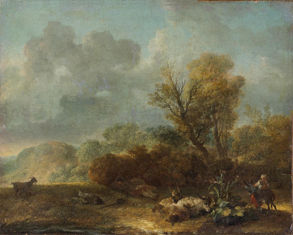 Circle of Jean Honoré Fragonard (French, 1732-1806) A landscape with figures and donkeys in the foreground 9 1/2 x 11 3/4in unframed