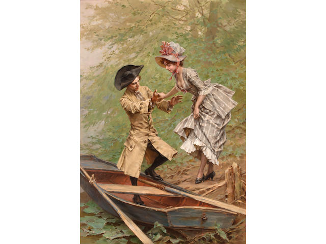 Frederik Hendrik Kaemmerer (Dutch, 1839-1902) The boating party 30 1/2 x 22in (80 x 56cm)