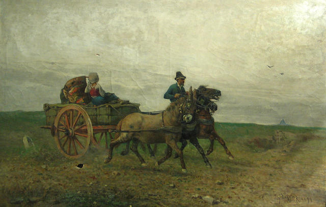Giuseppe Raggio (Italian, 1823-1916) Scene with cart and rider, 29 x 45in