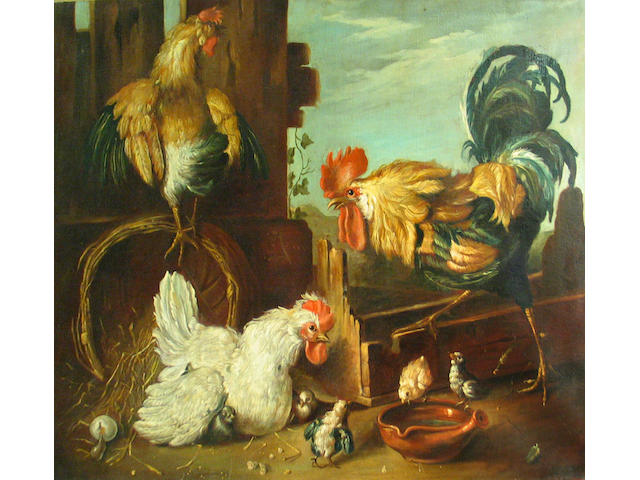 Italian School, 19th Century Two roosters and a hen with her chicks in a farmyard 37 x 50in unframed