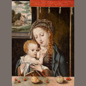 Flemish School, 16th Century Madonna and Child 14 1/8 x 10 1/2in (35.8 x 27.7cm)