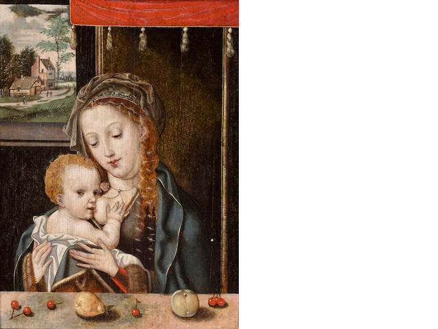 Flemish School, 16th Century Madonna and Child 14 1/8 x 10 1/2in (35.8 x 27.7cm)