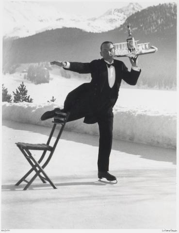 Alfred Eisenstaedt (American, 1898-1995); Ice Skating Waiter, St. Moritz;