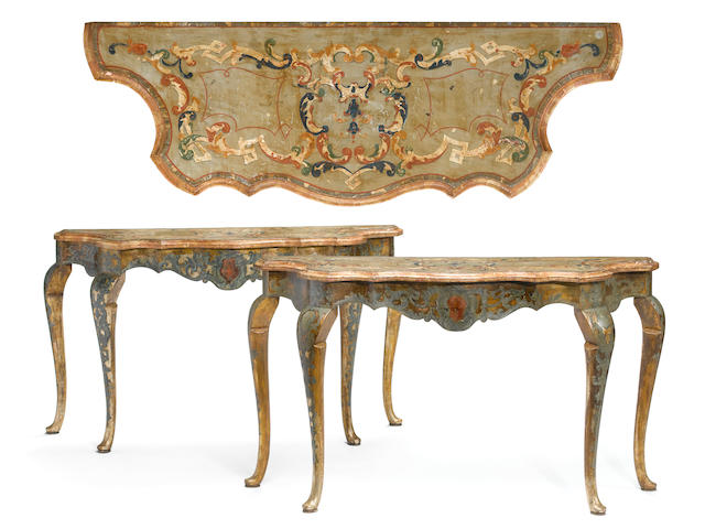 A pair of Venetian Rococo paint decorated and scagliola consoles <br>mid 18th century