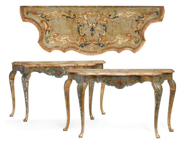 A pair of Venetian Rococo paint decorated and scagliola consoles mid 18th cenurty