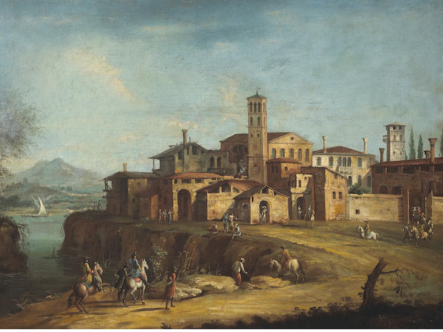 Follower of Michele Marieschi (Italian, 1696-1743) Figures on horseback outside of a town 26 3/4 x 36in (68 x 91.4cm)