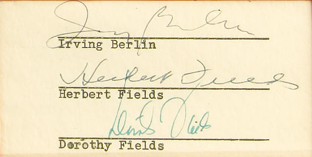 Irving Berlin and Dorothy Fields Cut signatures taken from larger contract, framed with sheet music