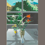 Paul Wonner (American, 1920-2008) Japanese Ceramics & Hawaiian Flowers, 1978-79 39 1/2 x 27 1/2in
