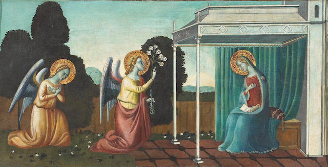 Florentine School, 15th Century The Annunciation engaged frame 11 x 22in (27.9 x 55.9cm)