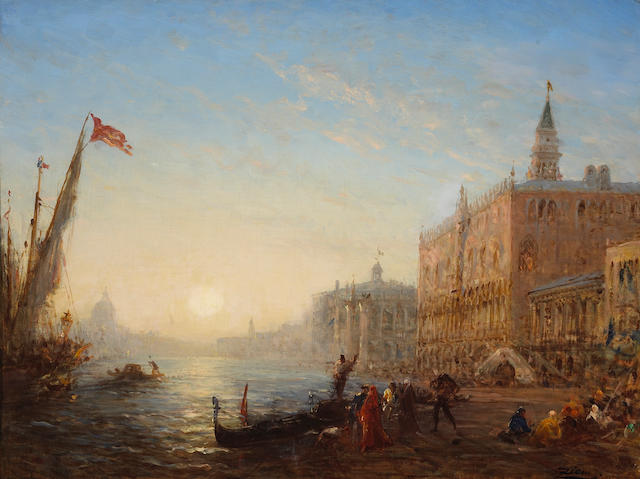 Félix François Georges Philibert Ziem (French, 1821-1911) A view of Venice from the Bacino di San Marco 25 x 32 3/4in (63.5 x 83.3cm)