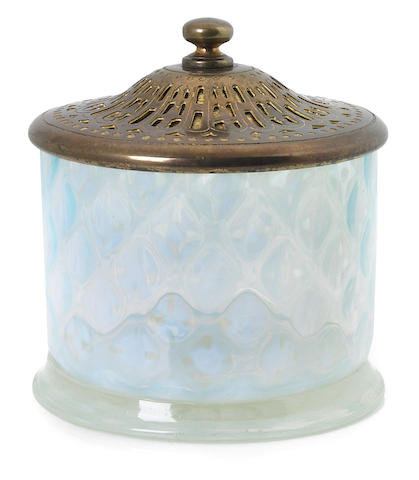 A Tiffany Studios Favrile glass and gilt bronze candy jar early 20th century