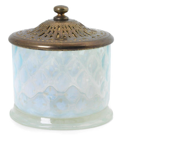 Tiffany favrile flass and gilt-bronze candy jar