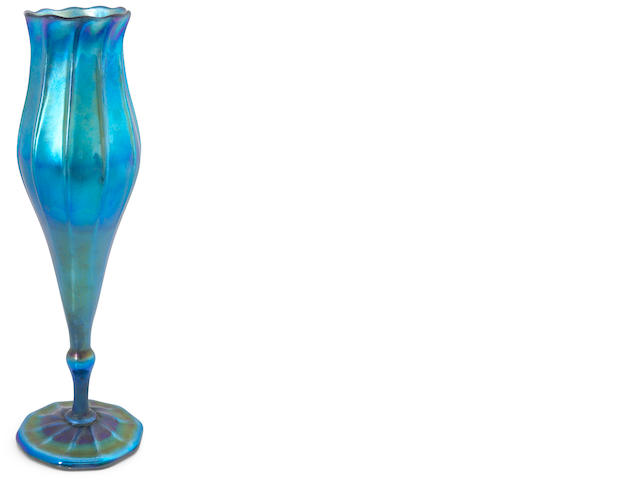 Tiffany blue favrile floriform vase