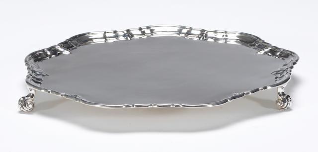 Edward VII silver tripod salver