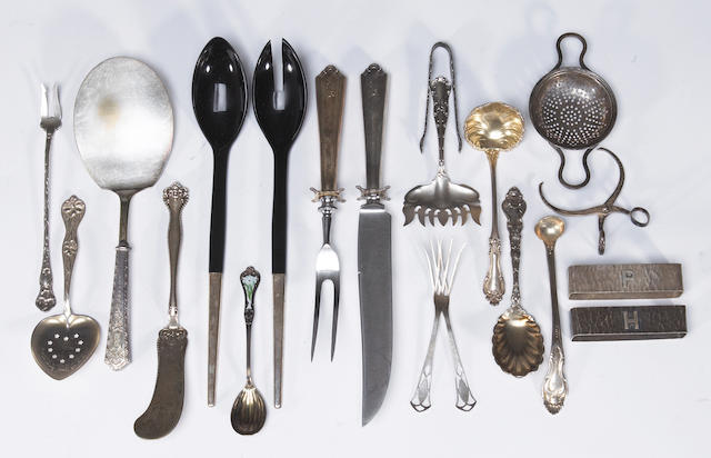 Group of sterling flatware service pieces